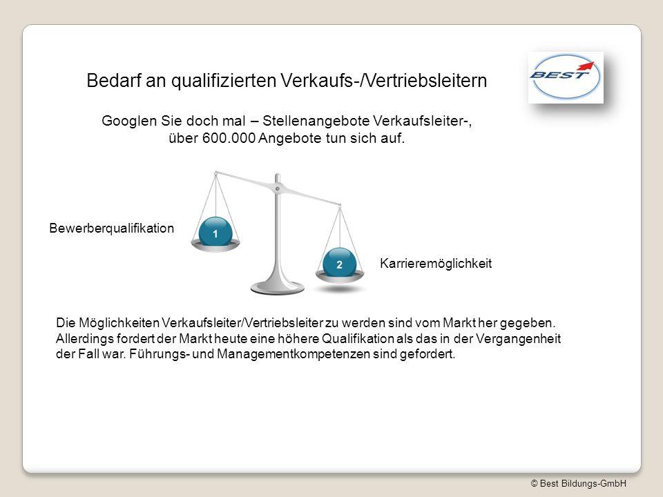 © Best Bildungs-GmbH Bedarf an qualifizierten Verkaufs-/Vertriebsleitern Googlen Sie doch mal – Stellenangebote Verkaufsleiter-, über 600.000 Angebote tun sich auf.