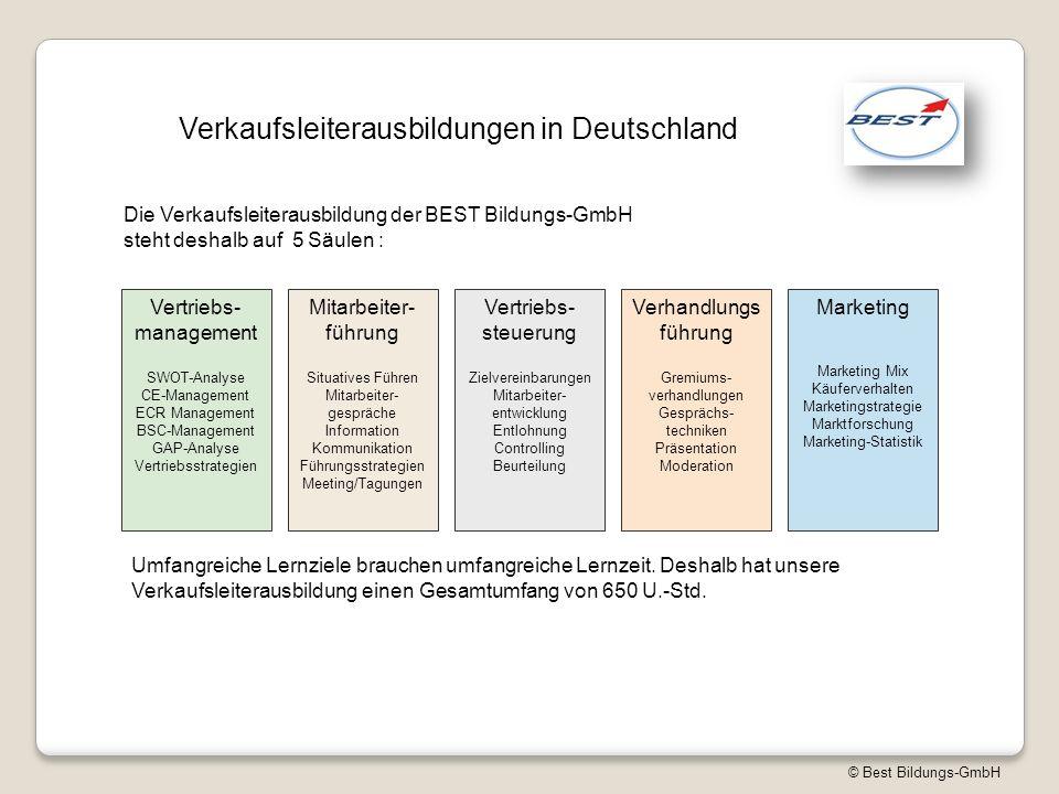 © Best Bildungs-GmbH Verkaufsleiterausbildungen in Deutschland Die Verkaufsleiterausbildung der BEST Bildungs-GmbH steht deshalb auf 5 Säulen : Vertri