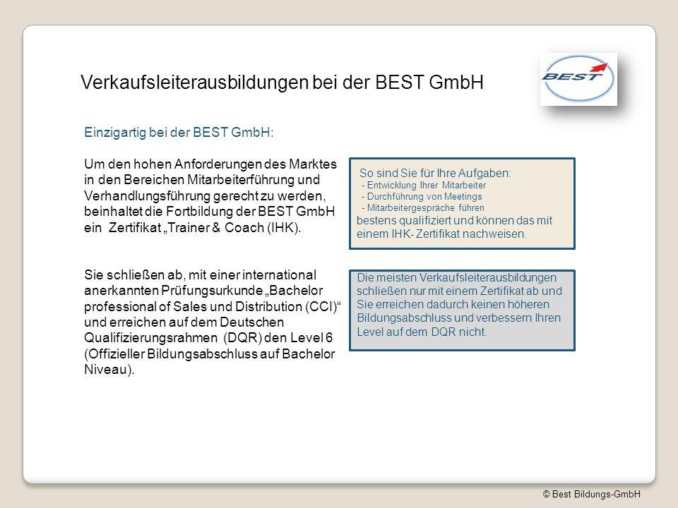 """© Best Bildungs-GmbH Verkaufsleiterausbildungen bei der BEST GmbH Um den hohen Anforderungen des Marktes in den Bereichen Mitarbeiterführung und Verhandlungsführung gerecht zu werden, beinhaltet die Fortbildung der BEST GmbH ein Zertifikat """"Trainer & Coach (IHK)."""