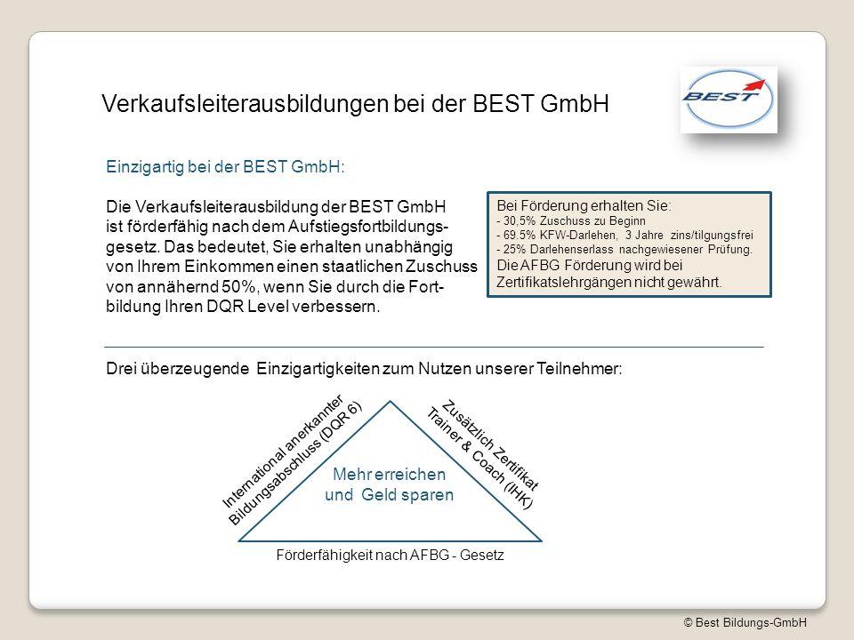 © Best Bildungs-GmbH Verkaufsleiterausbildungen bei der BEST GmbH Die Verkaufsleiterausbildung der BEST GmbH ist förderfähig nach dem Aufstiegsfortbildungs- gesetz.