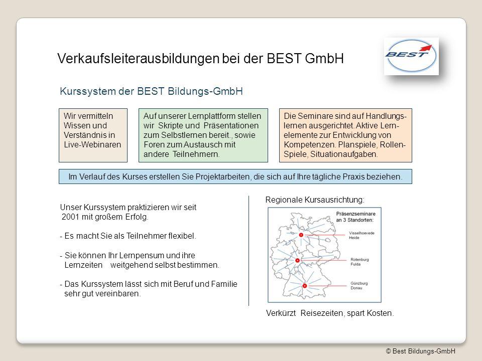 © Best Bildungs-GmbH Verkaufsleiterausbildungen bei der BEST GmbH Kurssystem der BEST Bildungs-GmbH Wir vermitteln Wissen und Verständnis in Live-Webinaren Auf unserer Lernplattform stellen wir Skripte und Präsentationen zum Selbstlernen bereit., sowie Foren zum Austausch mit andere Teilnehmern.