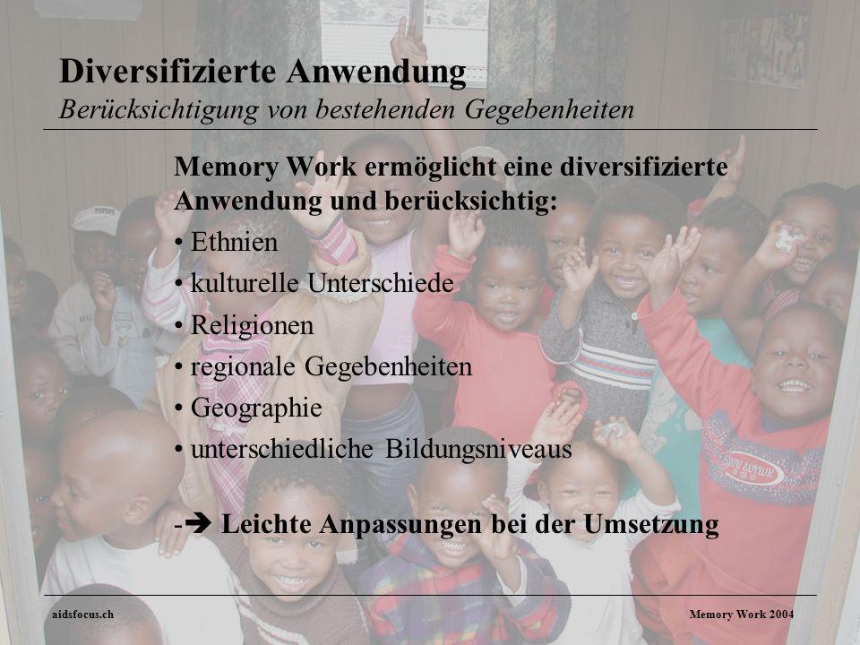 aidsfocus.ch Memory Work 2004 Diversifizierte Anwendung Berücksichtigung von bestehenden Gegebenheiten Memory Work ermöglicht eine diversifizierte Anwendung und berücksichtig: Ethnien kulturelle Unterschiede Religionen regionale Gegebenheiten Geographie unterschiedliche Bildungsniveaus -  Leichte Anpassungen bei der Umsetzung