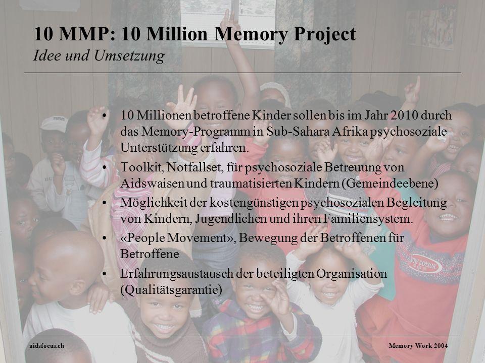 aidsfocus.ch Memory Work 2004 10 MMP: 10 Million Memory Project Idee und Umsetzung 10 Millionen betroffene Kinder sollen bis im Jahr 2010 durch das Memory-Programm in Sub-Sahara Afrika psychosoziale Unterstützung erfahren.