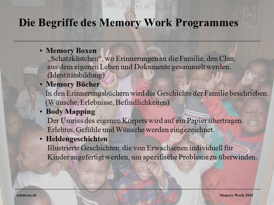 """aidsfocus.ch Memory Work 2004 Die Begriffe des Memory Work Programmes Memory Boxen """"Schatzkästchen , wo Erinnerungen an die Familie, den Clan, aus dem eigenen Leben und Dokumente gesammelt werden."""