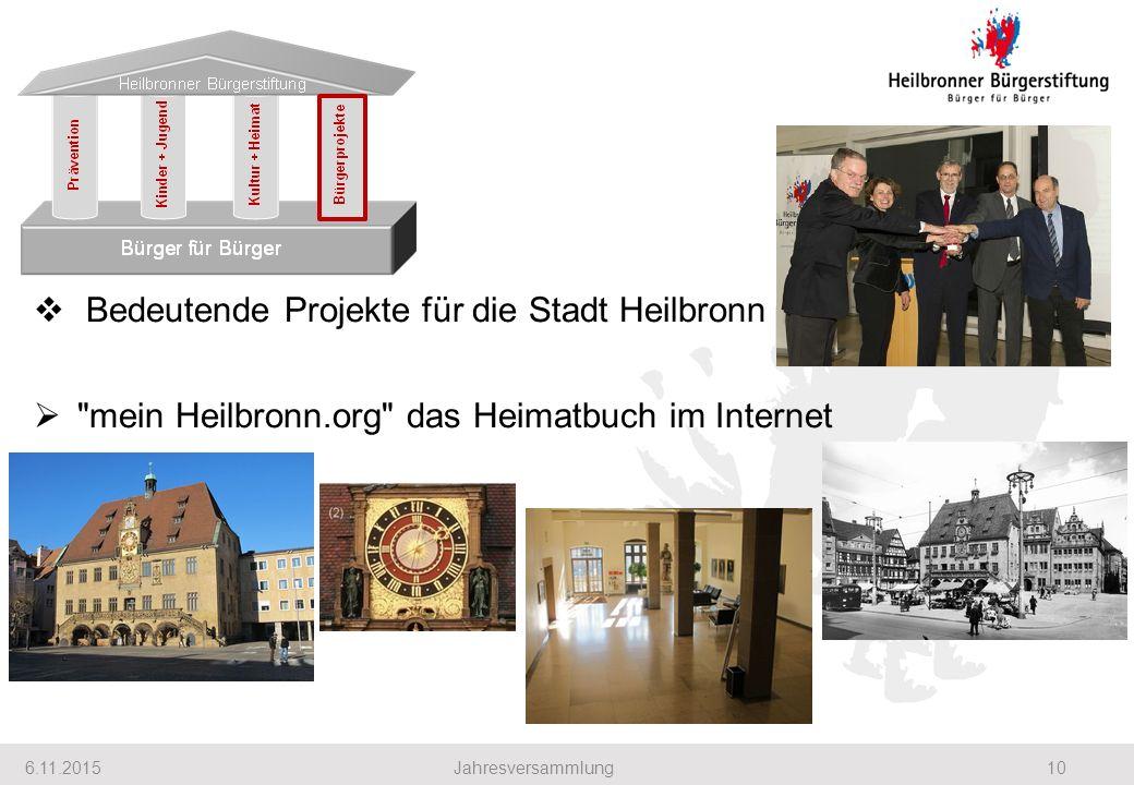 6.11.201510Jahresversammlung  Bedeutende Projekte für die Stadt Heilbronn  mein Heilbronn.org das Heimatbuch im Internet Heilbronner Bürgerstiftung