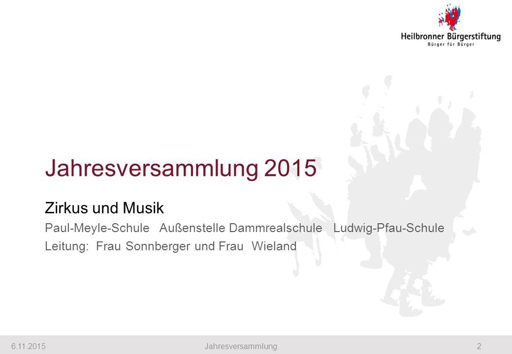 Jahresversammlung 2015 Zirkus und Musik Paul-Meyle-Schule Außenstelle Dammrealschule Ludwig-Pfau-Schule Leitung: Frau Sonnberger und Frau Wieland 6.11