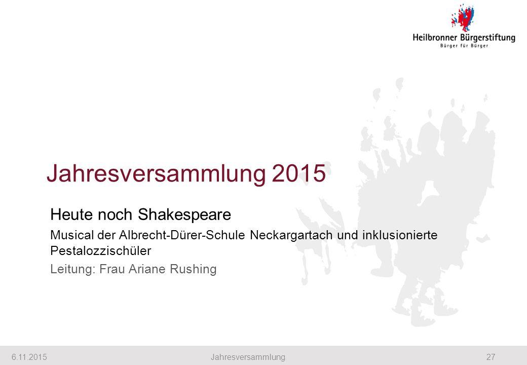 Jahresversammlung 2015 6.11.201527Jahresversammlung Heute noch Shakespeare Musical der Albrecht-Dürer-Schule Neckargartach und inklusionierte Pestalozzischüler Leitung: Frau Ariane Rushing