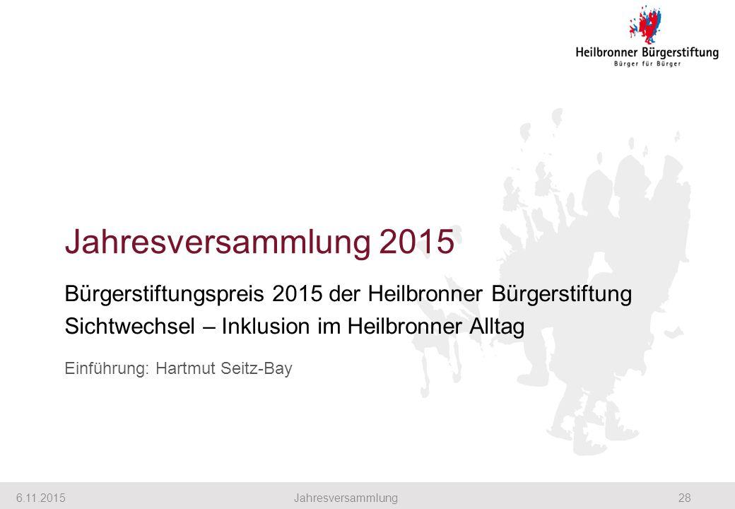 Jahresversammlung 2015 Bürgerstiftungspreis 2015 der Heilbronner Bürgerstiftung Sichtwechsel – Inklusion im Heilbronner Alltag Einführung: Hartmut Seitz-Bay 6.11.201528Jahresversammlung
