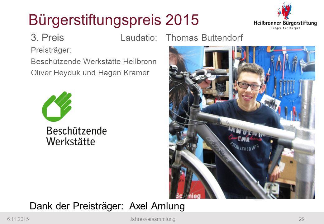 3. Preis Laudatio: Thomas Buttendorf Preisträger: Beschützende Werkstätte Heilbronn Oliver Heyduk und Hagen Kramer 6.11.201529Jahresversammlung Bürger
