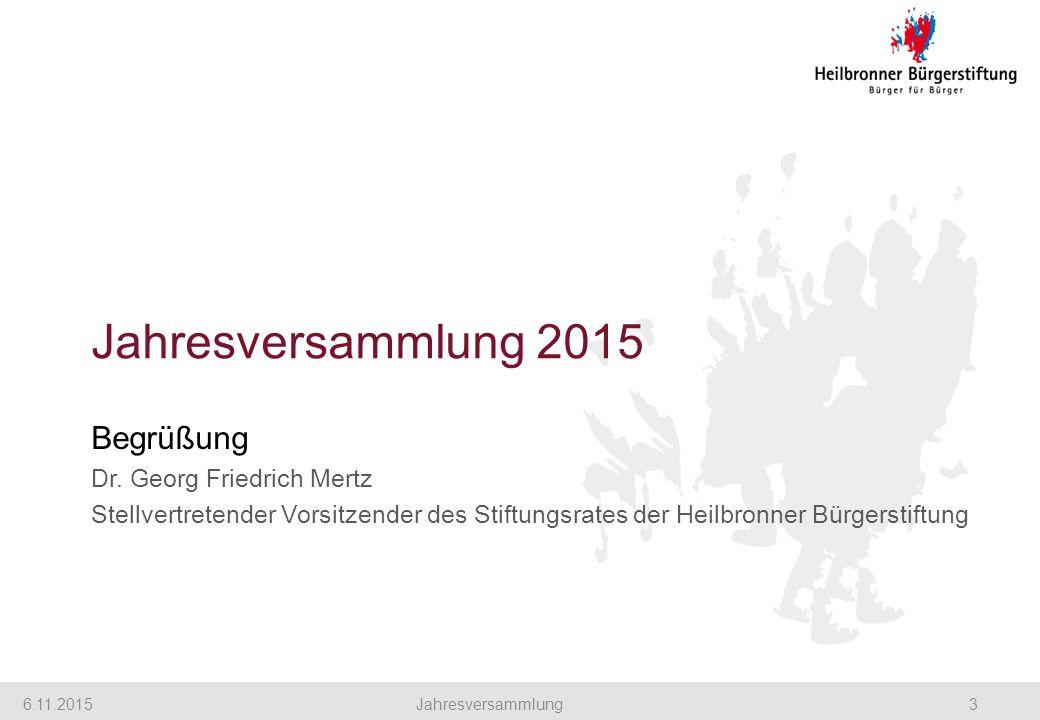 Jahresversammlung 2015 Begrüßung Dr. Georg Friedrich Mertz Stellvertretender Vorsitzender des Stiftungsrates der Heilbronner Bürgerstiftung 6.11.20153