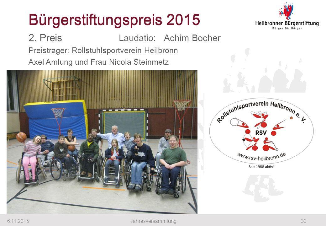 Bürgerstiftungspreis 2015 2. Preis Laudatio: Achim Bocher Preisträger: Rollstuhlsportverein Heilbronn Axel Amlung und Frau Nicola Steinmetz 6.11.20153