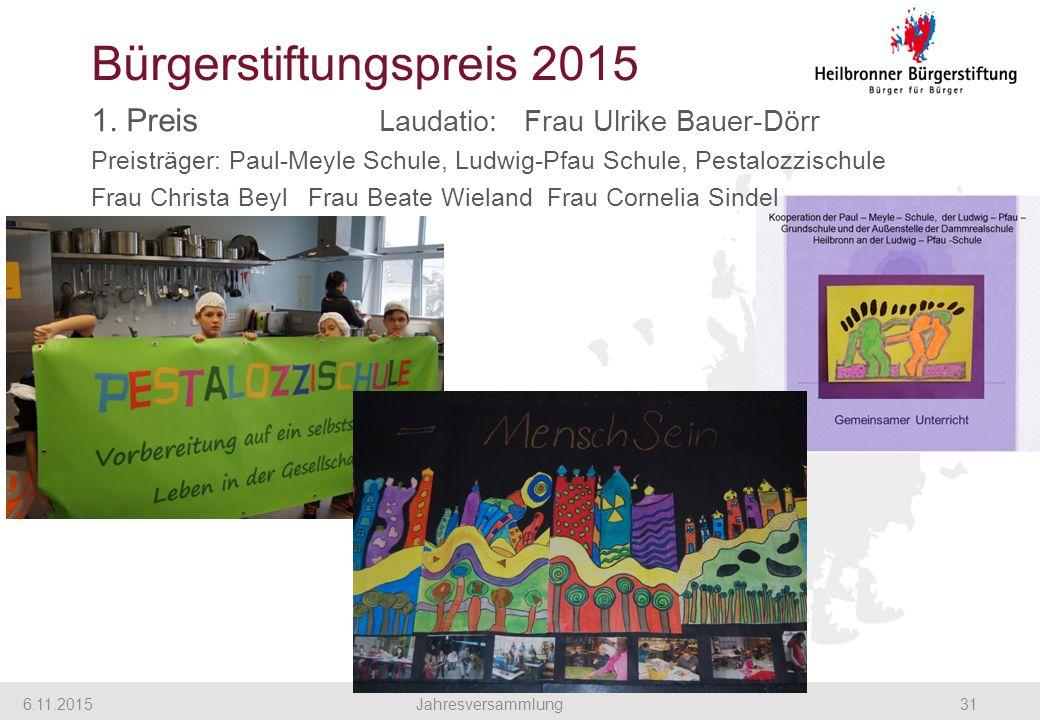 1. Preis Laudatio: Frau Ulrike Bauer-Dörr Preisträger: Paul-Meyle Schule, Ludwig-Pfau Schule, Pestalozzischule Frau Christa Beyl Frau Beate Wieland Fr