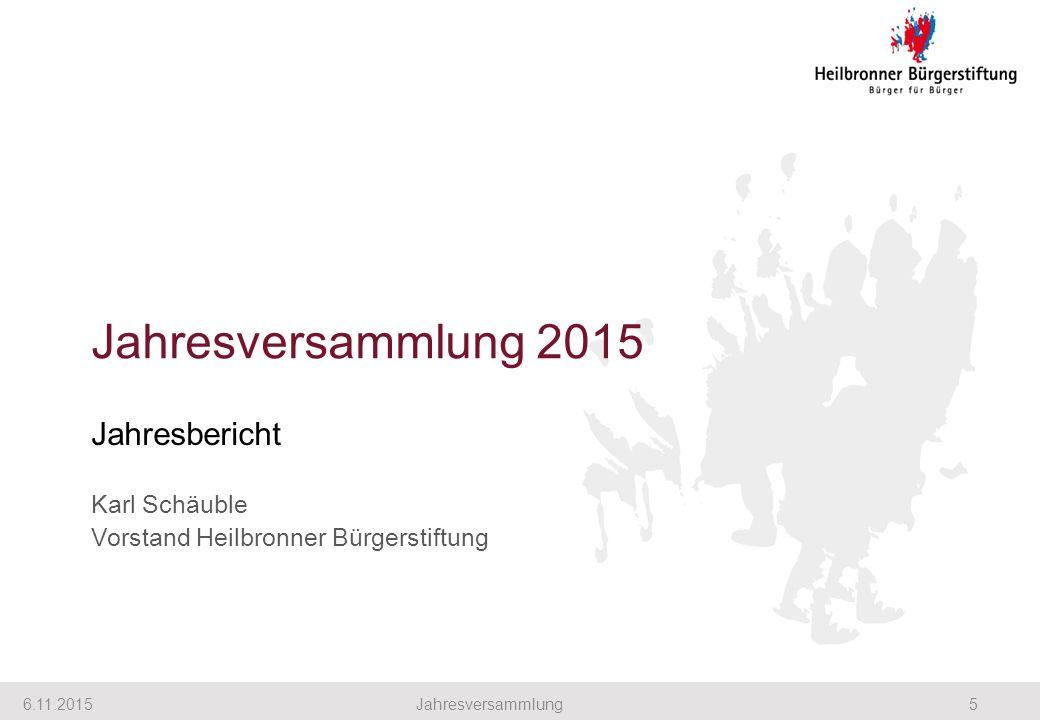 Jahresversammlung 2015 Jahresbericht Karl Schäuble Vorstand Heilbronner Bürgerstiftung 6.11.20155Jahresversammlung