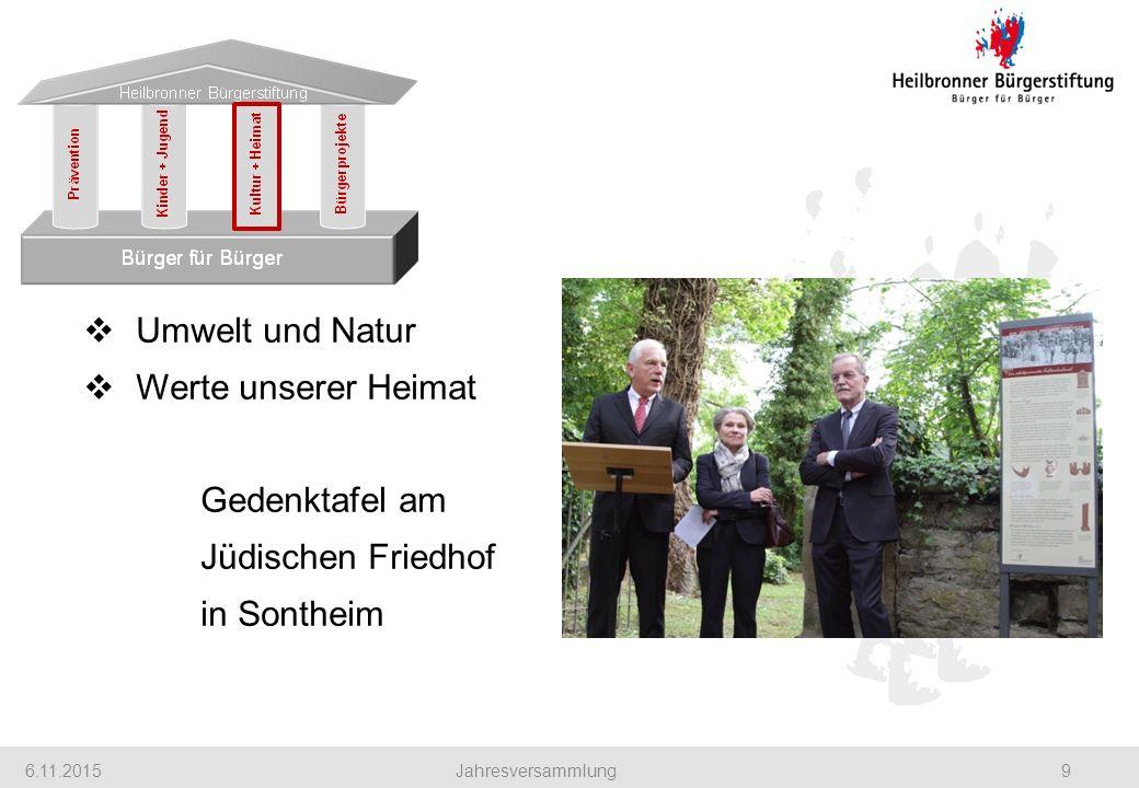 6.11.20159Jahresversammlung  Umwelt und Natur  Werte unserer Heimat Gedenktafel am Jüdischen Friedhof in Sontheim Heilbronner Bürgerstiftung