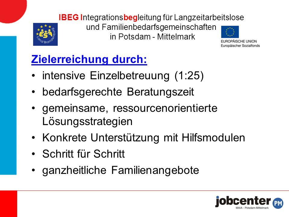 IBEG Integrationsbegleitung für Langzeitarbeitslose und Familienbedarfsgemeinschaften in Potsdam - Mittelmark Zielerreichung durch: intensive Einzelbetreuung (1:25) bedarfsgerechte Beratungszeit gemeinsame, ressourcenorientierte Lösungsstrategien Konkrete Unterstützung mit Hilfsmodulen Schritt für Schritt ganzheitliche Familienangebote
