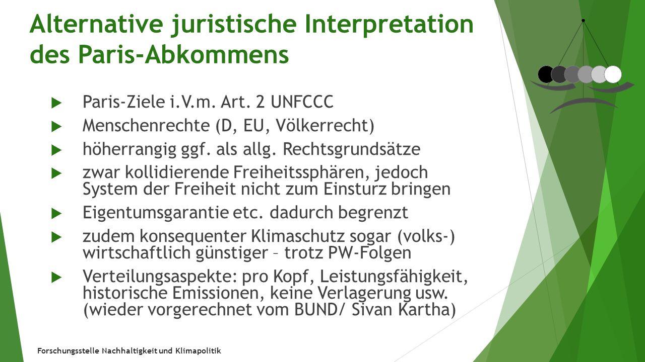Forschungsstelle Nachhaltigkeit und Klimapolitik Alternative juristische Interpretation des Paris-Abkommens  Paris-Ziele i.V.m. Art. 2 UNFCCC  Mensc