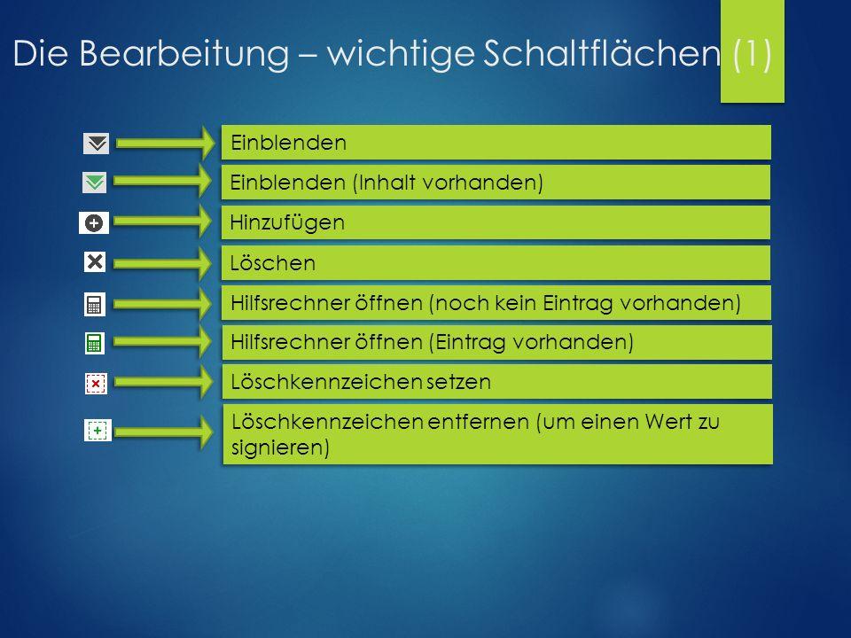 Die Bearbeitung – wichtige Schaltflächen (1) Einblenden (Inhalt vorhanden) Einblenden Hinzufügen Löschen Hilfsrechner öffnen (noch kein Eintrag vorhan