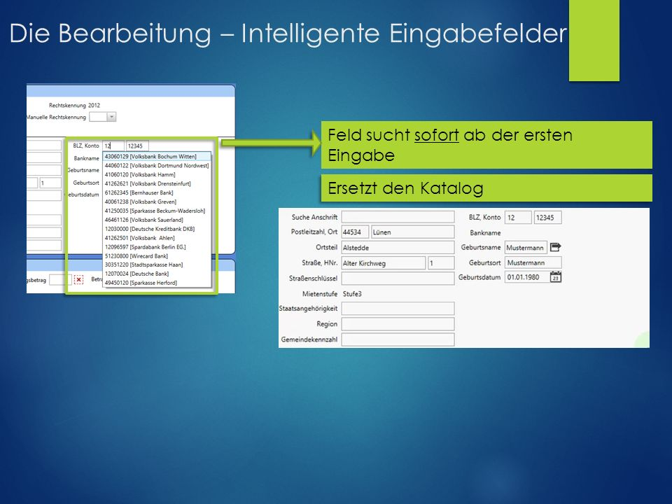 Die Bearbeitung – Intelligente Eingabefelder Feld sucht sofort ab der ersten Eingabe Ersetzt den Katalog