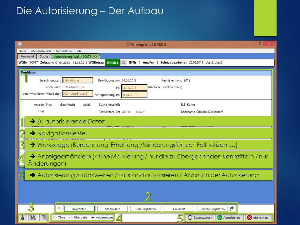 Die Autorisierung – Der Aufbau  Zu autorisierende Daten  Navigationsleiste  Werkzeuge (Berechnung, Erhöhung-/Minderungsfenster, Fallnotizen, …)  A