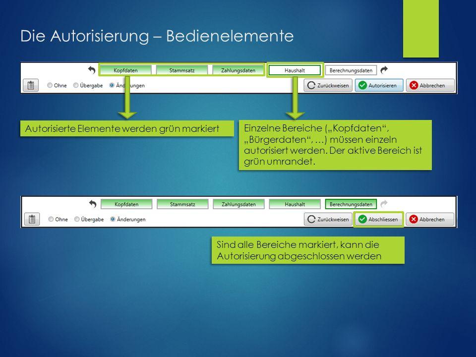 """Die Autorisierung – Bedienelemente Autorisierte Elemente werden grün markiert Einzelne Bereiche (""""Kopfdaten , """"Bürgerdaten , …) müssen einzeln autorisiert werden."""