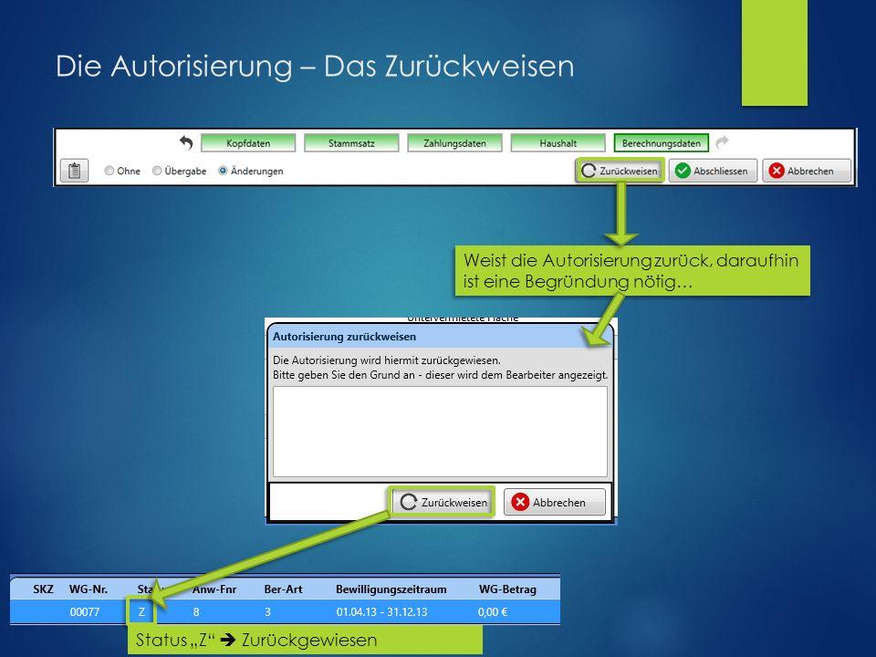 """Die Autorisierung – Das Zurückweisen Weist die Autorisierung zurück, daraufhin ist eine Begründung nötig… Status """"Z  Zurückgewiesen"""