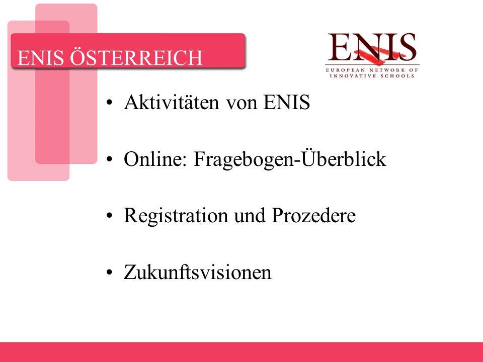 ENIS ÖSTERREICH Aktivitäten von ENIS Online: Fragebogen-Überblick Registration und Prozedere Zukunftsvisionen