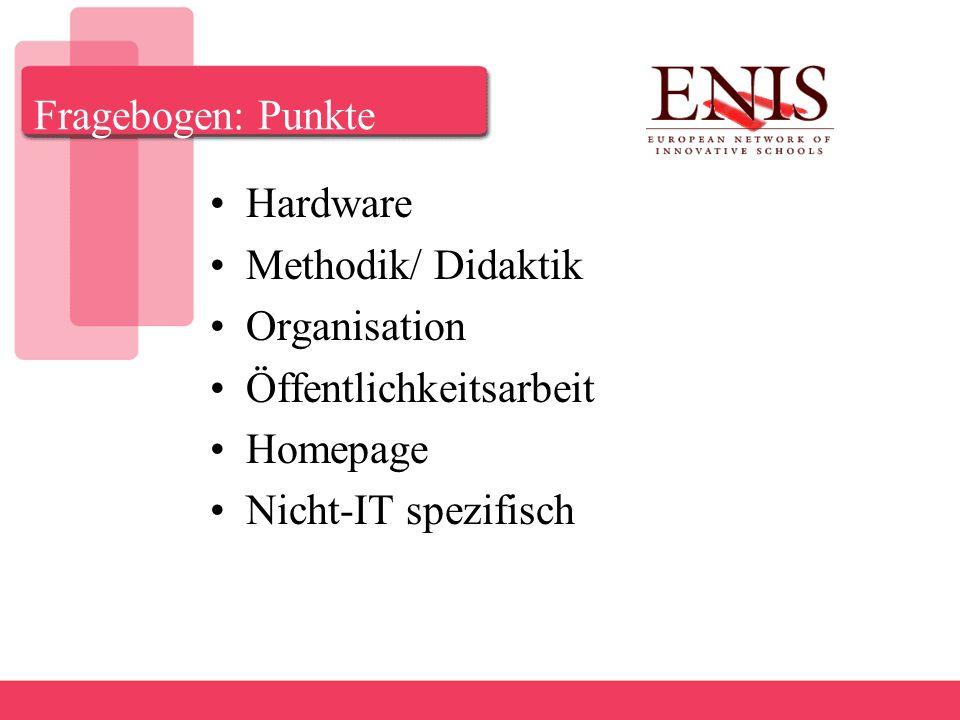 Fragebogen: Punkte Hardware Methodik/ Didaktik Organisation Öffentlichkeitsarbeit Homepage Nicht-IT spezifisch