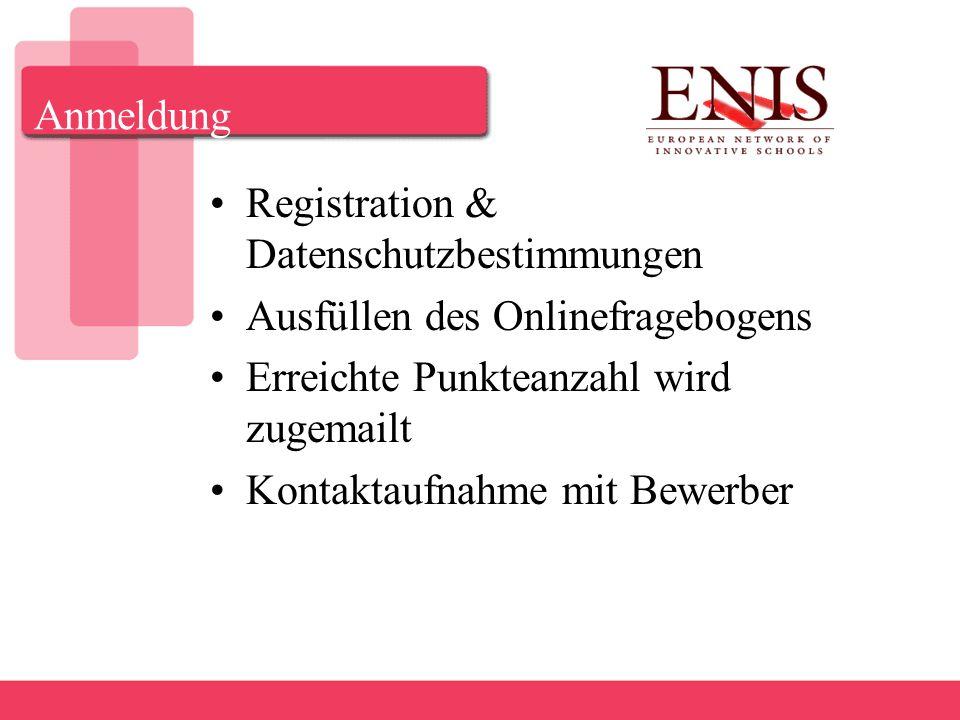 Anmeldung Registration & Datenschutzbestimmungen Ausfüllen des Onlinefragebogens Erreichte Punkteanzahl wird zugemailt Kontaktaufnahme mit Bewerber