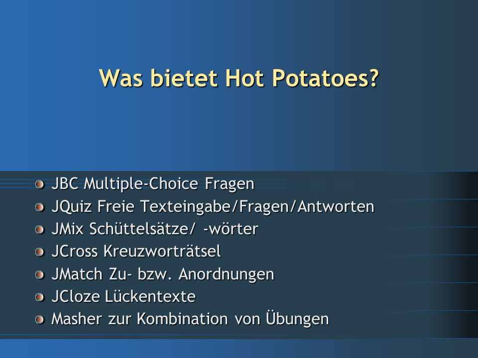 Was ist Hot Potatoes.