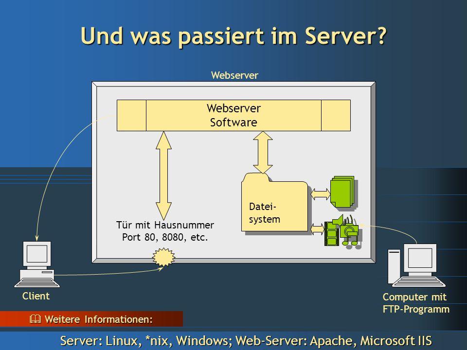 Client Webserver Computer mit FTP-Programm Webserver Client Computer mit FTP-Programm Und was passiert im Server.