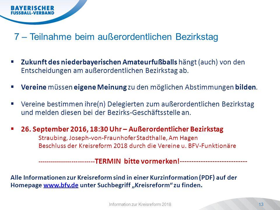 Information zur Kreisreform 201813 7 – Teilnahme beim außerordentlichen Bezirkstag  Zukunft des niederbayerischen Amateurfußballs hängt (auch) von den Entscheidungen am außerordentlichen Bezirkstag ab.