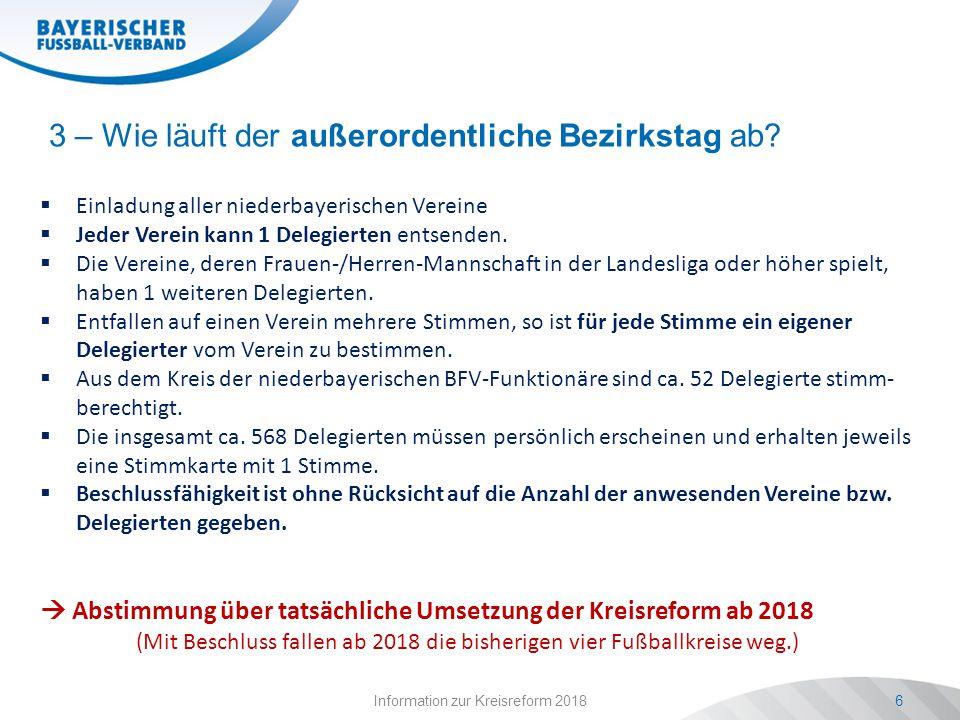 Information zur Kreisreform 20186  Einladung aller niederbayerischen Vereine  Jeder Verein kann 1 Delegierten entsenden.  Die Vereine, deren Frauen