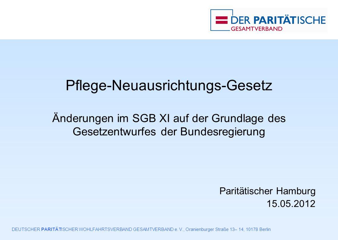 Entwurf Pflege-Neuausrichtungs-Gesetz der Bundesregierung (April 2012) – Paritätischer Hamburg am 15.05.201222 § 118 Beteiligung von Interessenvertretungen, Verordnungsermächtigung (1) Bei Erarbeitung oder Änderung 1.