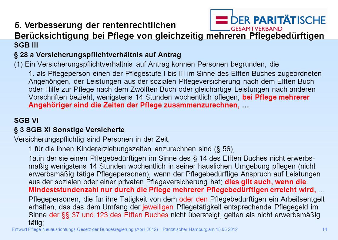 Entwurf Pflege-Neuausrichtungs-Gesetz der Bundesregierung (April 2012) – Paritätischer Hamburg am 15.05.201214 SGB III § 28 a Versicherungspflichtverhältnis auf Antrag (1) Ein Versicherungspflichtverhältnis auf Antrag können Personen begründen, die 1.