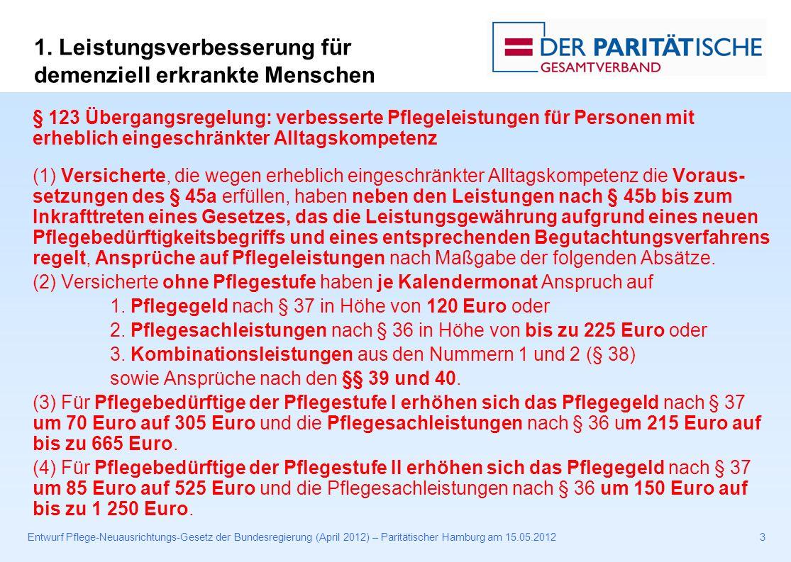 Entwurf Pflege-Neuausrichtungs-Gesetz der Bundesregierung (April 2012) – Paritätischer Hamburg am 15.05.201224 § 82b Ehrenamtliche Unterstützung (1) Soweit und solange einer nach diesem Gesetz zugelassenen Pflegeeinrichtung, insbesondere 1.