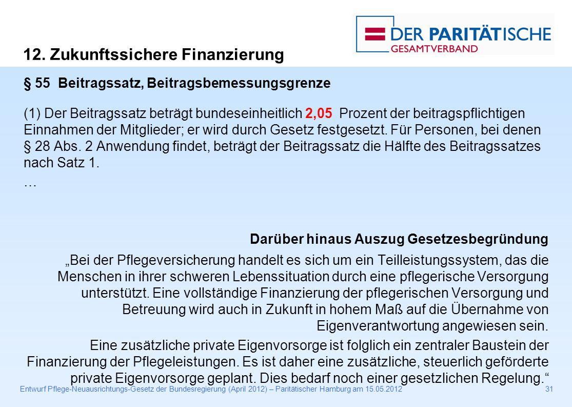Entwurf Pflege-Neuausrichtungs-Gesetz der Bundesregierung (April 2012) – Paritätischer Hamburg am 15.05.201231 § 55 Beitragssatz, Beitragsbemessungsgrenze (1) Der Beitragssatz beträgt bundeseinheitlich 2,05 Prozent der beitragspflichtigen Einnahmen der Mitglieder; er wird durch Gesetz festgesetzt.