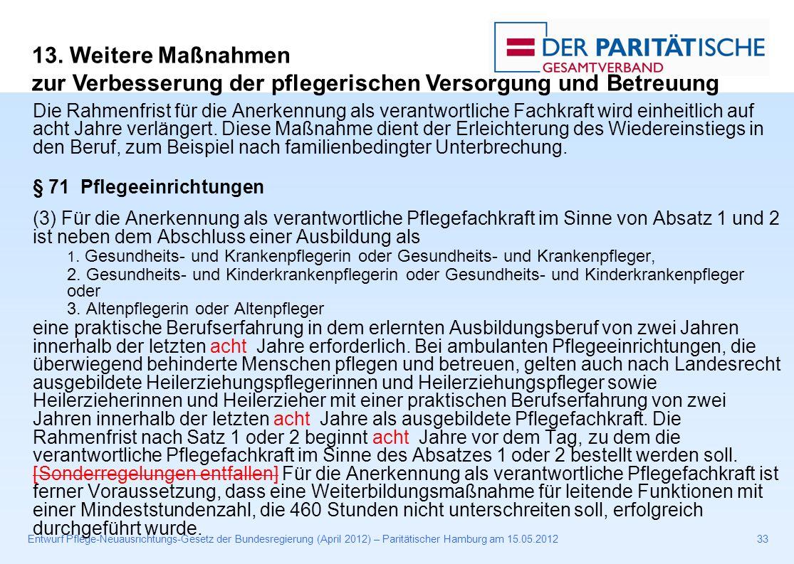 Entwurf Pflege-Neuausrichtungs-Gesetz der Bundesregierung (April 2012) – Paritätischer Hamburg am 15.05.201233 Die Rahmenfrist für die Anerkennung als verantwortliche Fachkraft wird einheitlich auf acht Jahre verlängert.