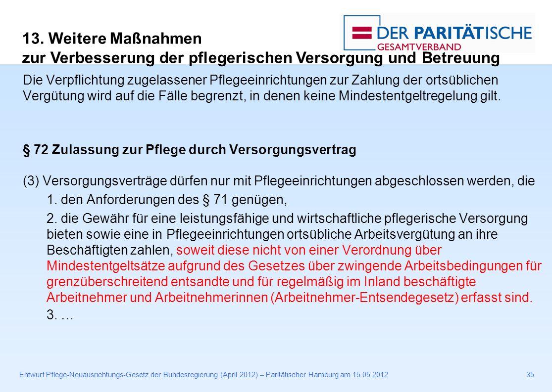 Entwurf Pflege-Neuausrichtungs-Gesetz der Bundesregierung (April 2012) – Paritätischer Hamburg am 15.05.201235 Die Verpflichtung zugelassener Pflegeeinrichtungen zur Zahlung der ortsüblichen Vergütung wird auf die Fälle begrenzt, in denen keine Mindestentgeltregelung gilt.