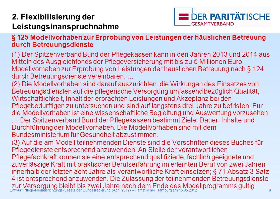 Entwurf Pflege-Neuausrichtungs-Gesetz der Bundesregierung (April 2012) – Paritätischer Hamburg am 15.05.20128 § 125 Modellvorhaben zur Erprobung von Leistungen der häuslichen Betreuung durch Betreuungsdienste (1) Der Spitzenverband Bund der Pflegekassen kann in den Jahren 2013 und 2014 aus Mitteln des Ausgleichfonds der Pflegeversicherung mit bis zu 5 Millionen Euro Modellvorhaben zur Erprobung von Leistungen der häuslichen Betreuung nach § 124 durch Betreuungsdienste vereinbaren.