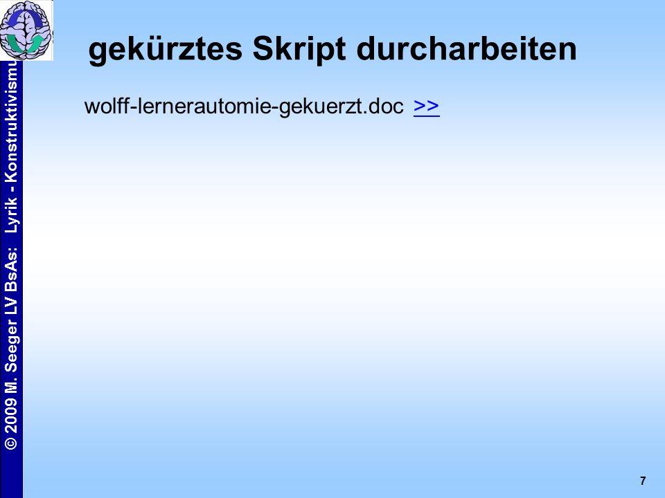 © 2009 M.Seeger LV BsAs: Lyrik - Konstruktivismus 8 HA: weitere Informationen hinzuziehen z.B.
