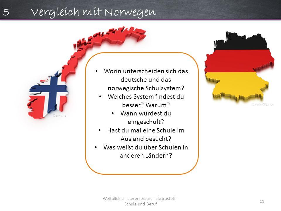 Weitblick 2 - Lærerressurs - Ekstrastoff - Schule und Beruf 11 5Vergleich mit Norwegen Worin unterscheiden sich das deutsche und das norwegische Schulsystem.
