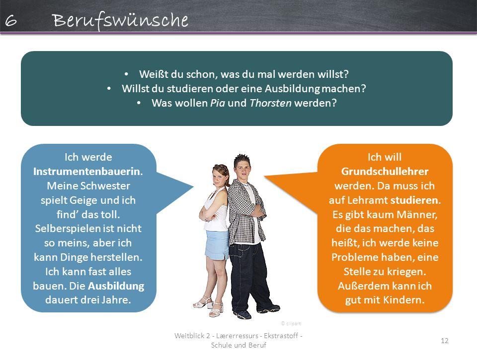Weitblick 2 - Lærerressurs - Ekstrastoff - Schule und Beruf 12 6Berufswünsche Weißt du schon, was du mal werden willst.