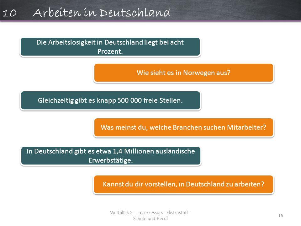 Weitblick 2 - Lærerressurs - Ekstrastoff - Schule und Beruf 16 10Arbeiten in Deutschland Die Arbeitslosigkeit in Deutschland liegt bei acht Prozent.
