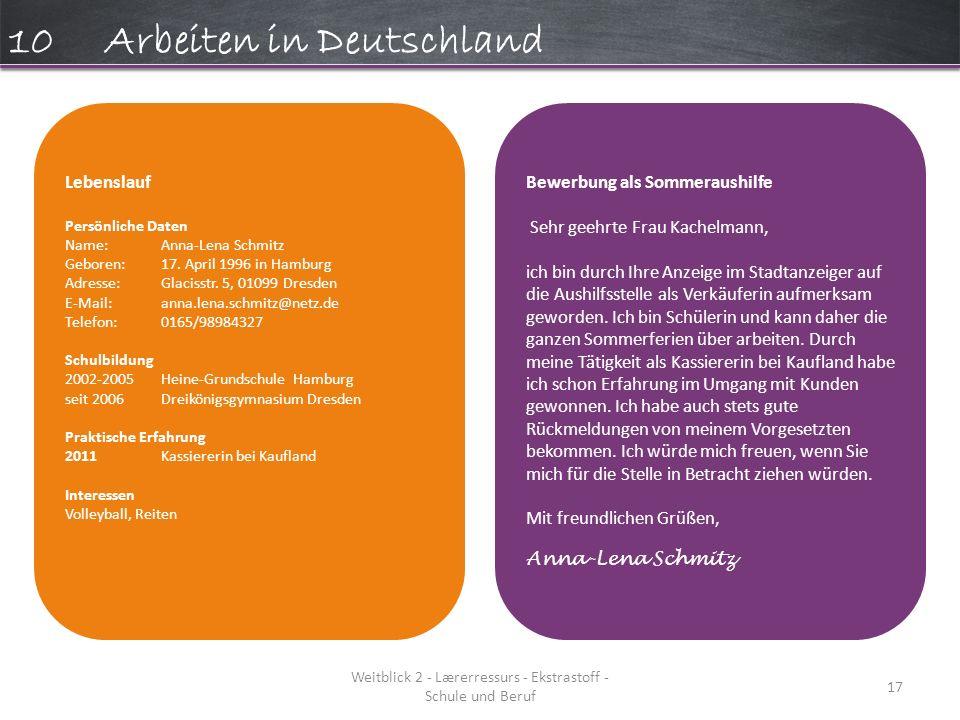 Weitblick 2 - Lærerressurs - Ekstrastoff - Schule und Beruf 17 10Arbeiten in Deutschland Lebenslauf Persönliche Daten Name:Anna-Lena Schmitz Geboren:17.