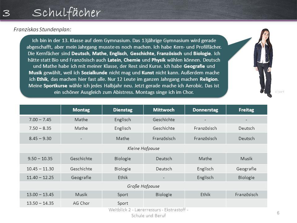Weitblick 2 - Lærerressurs - Ekstrastoff - Schule und Beruf 6 MontagDienstagMittwochDonnerstagFreitag 7.00 – 7.45MatheEnglischGeschichte-- 7.50 – 8.35MatheEnglischGeschichteFranzösischDeutsch 8.45 – 9.30-MatheFranzösisch Deutsch Kleine Hofpause 9.50 – 10.35GeschichteBiologieDeutschMatheMusik 10.45 – 11.30GeschichteBiologieDeutschEnglischGeografie 11.40 – 12.25GeografieEthik-EnglischBiologie Große Hofpause 13.00 – 13.45MusikSportBiologieEthikFranzösisch 13.50 – 14.35AG ChorSport Franziskas Stundenplan: Ich bin in der 13.