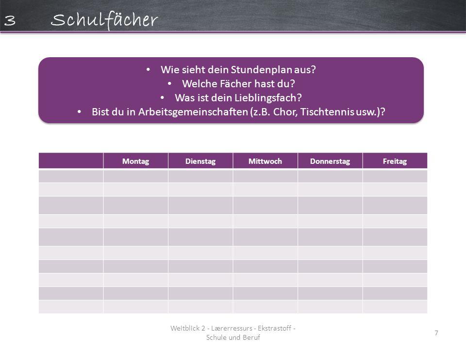 Weitblick 2 - Lærerressurs - Ekstrastoff - Schule und Beruf 7 3Schulfächer MontagDienstagMittwochDonnerstagFreitag Wie sieht dein Stundenplan aus.