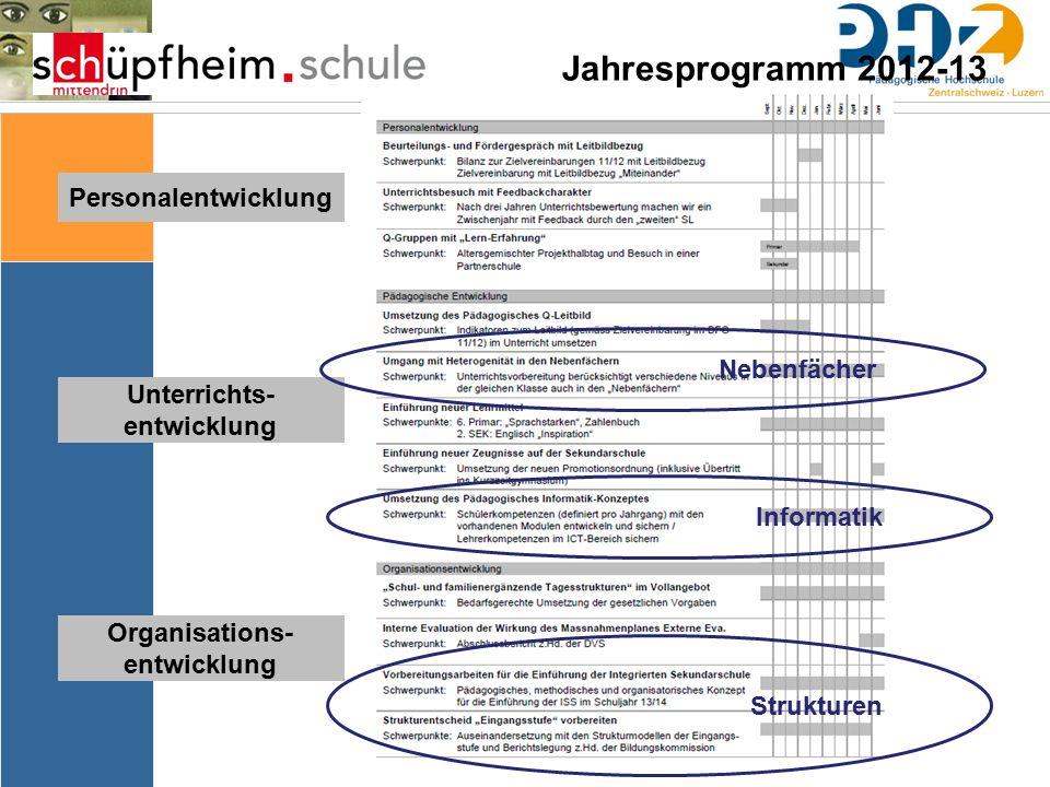 Personalentwicklung Unterrichts- entwicklung Organisations- entwicklung Jahresprogramm 2012-13 Nebenfächer Informatik Strukturen