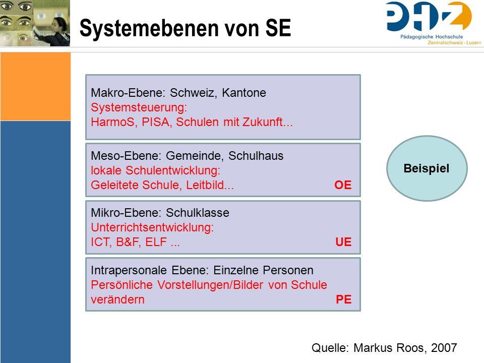 Systemebenen von SE Makro-Ebene: Schweiz, Kantone Systemsteuerung: HarmoS, PISA, Schulen mit Zukunft...
