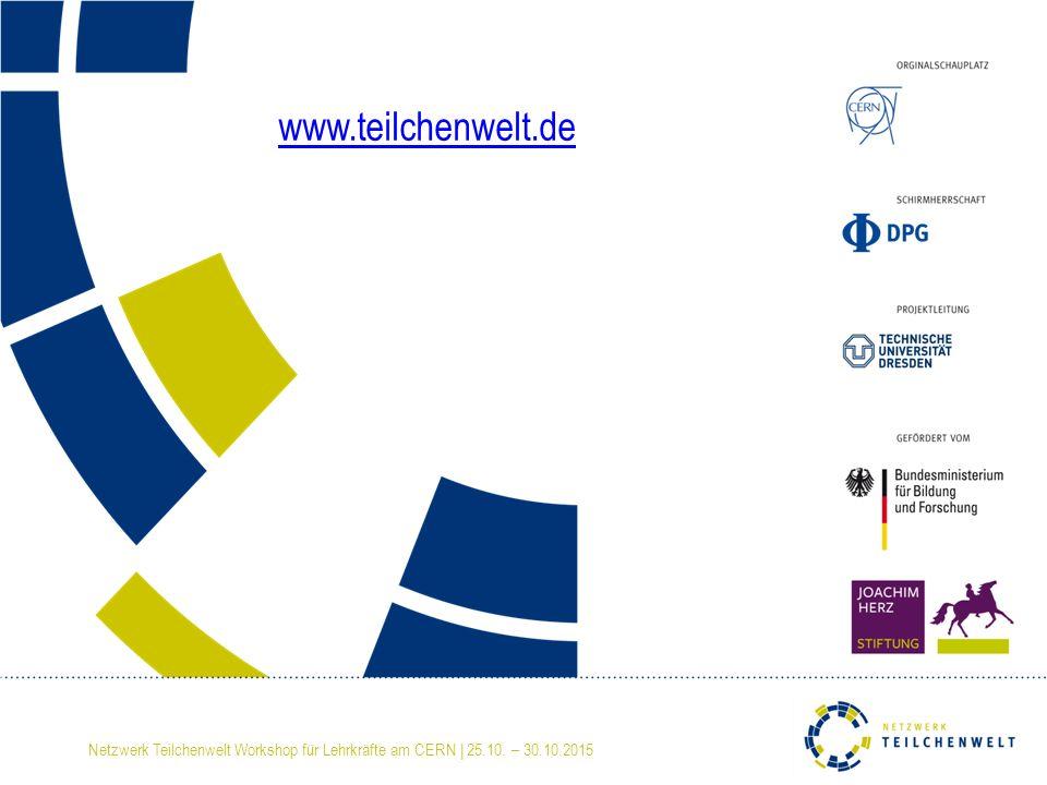 www.teilchenwelt.de Netzwerk Teilchenwelt Workshop für Lehrkräfte am CERN | 25.10. – 30.10.2015