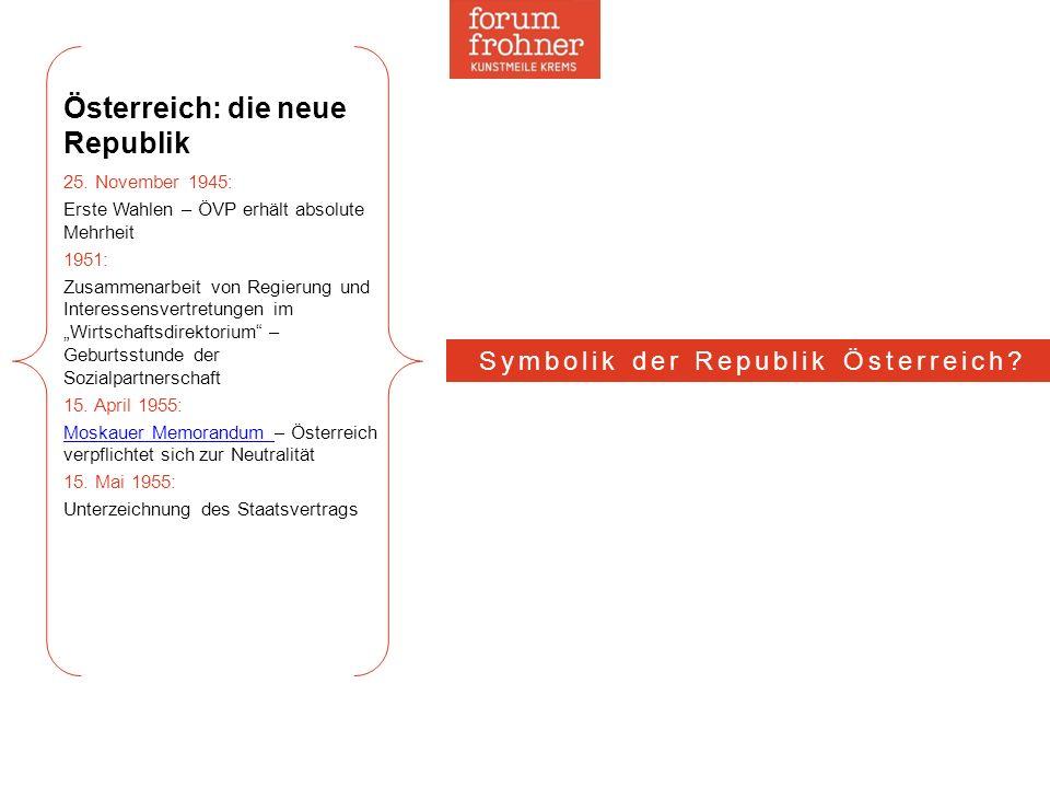 Österreich: die neue Republik 25. November 1945: Erste Wahlen – ÖVP erhält absolute Mehrheit 1951: Zusammenarbeit von Regierung und Interessensvertret